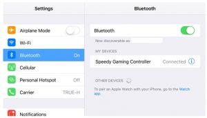 ใช้งานจอยเกมมือถือในโหมดจับคู่ เปิดการตั้งค่าบน iPhone เลือกไปที่ Bluetooth