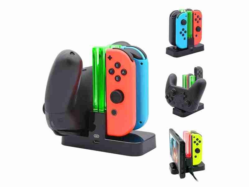 Charging Dock Nintendo Switch Pro Controller & Joy Con ออกแบบมาให้รองรับการชาร์จ Pro Controller/ Switch Console ด้วย นอกจากนี้ยังสามารถชาร์จพร้อม ๆ กันทีเดียวได้หลายอย่าง