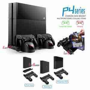พัดลม แท่นวาง PS4 Stand ชาร์จจอยพร้อมไฟ LED